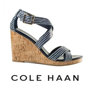 Cole Haan Blue and White Jillian Wedges